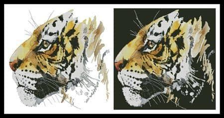 Abstract Tiger by Artecy printed cross stitch chart